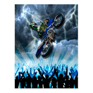 Freestyle Motocross rider flying over the crowd Postcard