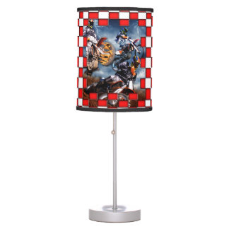 Freestyle motocross with red checkered flags table lamp