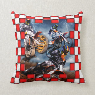 Freestyle motocross with red checkered flags throw pillow