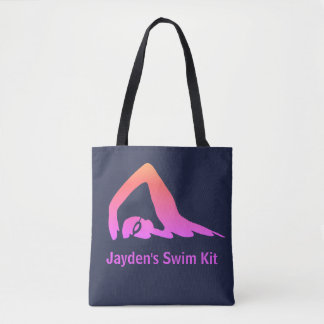 Freestyle swimmer, pink, swim kit, personalised tote bag