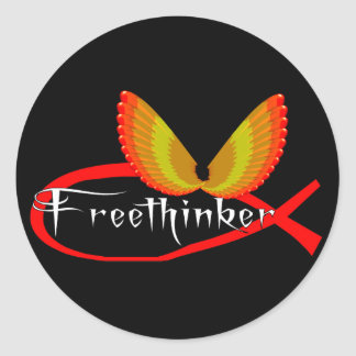 Freethinking Fish Symbol Classic Round Sticker