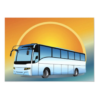 """FreeVector-Bus Transportation travel touring 5"""" X 7"""" Invitation Card"""