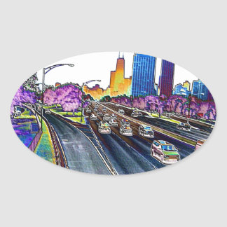 Freeway Driving in Colored Foil Oval Sticker