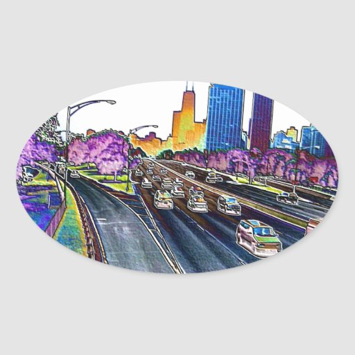 Freeway Driving in Colored Foil Sticker