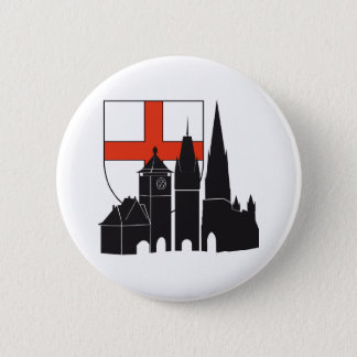 Freiburg silhouette with coats of arms 2 inch round button