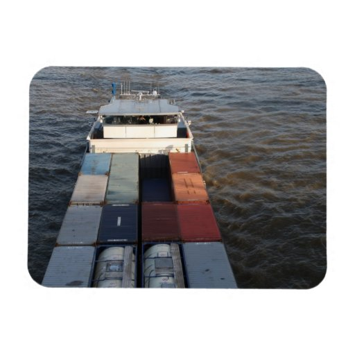 Freight ship on the Meuse, Rotterdam Rectangle Magnet