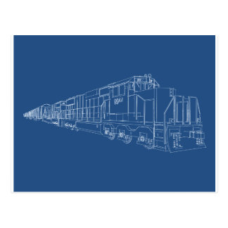 Freight Train Blueprint: Railroad: Postcard