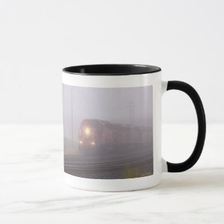 Freight Train Running in Morning Fog Mug
