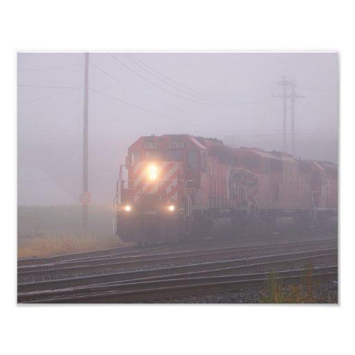 Freight Train Running in Morning Fog Photo Art