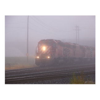 Freight Train Running in Morning Fog Postcard