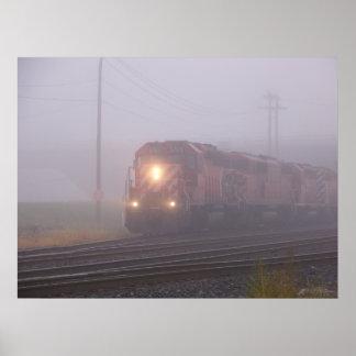 Freight Train Running in Morning Fog Poster