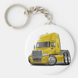 Freightliner Cascadia Yellow Truck Basic Round Button Keychain