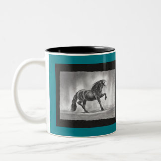 Freisian Fame Black White and Teal Coffee Mug Cup