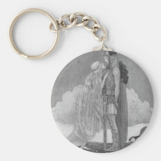 Freja and Svipdag by John Bauer Basic Round Button Keychain