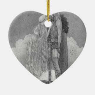 Freja and Svipdag by John Bauer Ceramic Heart Ornament