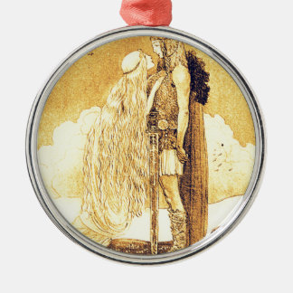 Freja and Svipdag by John Bauer Silver-Colored Round Ornament