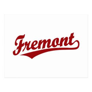 Fremont script logo in red postcard