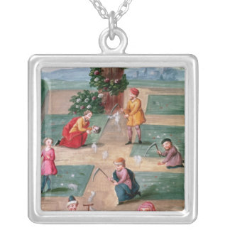 French alchemists seeking material gold silver plated necklace