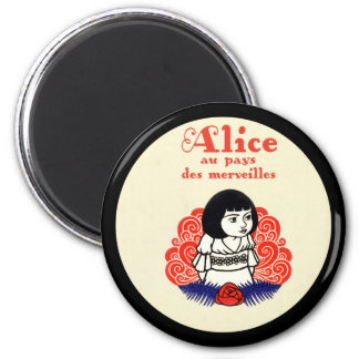 French Alice Book Cover 2 Inch Round Magnet