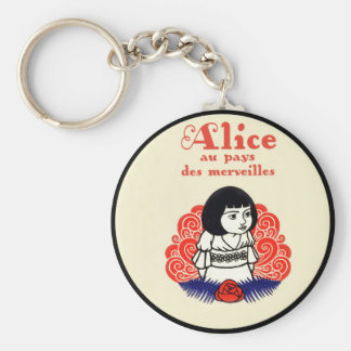 French Alice Book Cover Basic Round Button Keychain