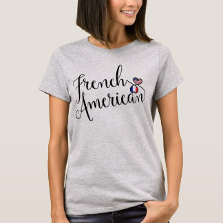French American Entwinted Hearts Tee Shirt