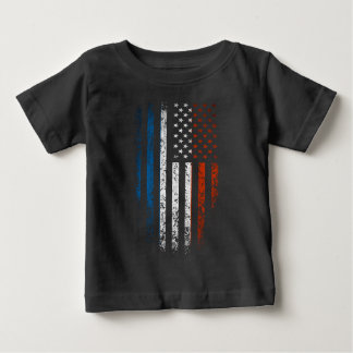 French American Flag Grunge Baby T-Shirt