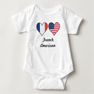 French American Flag Hearts Baby Bodysuit