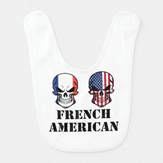 French American Flag Skulls Bib