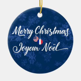 French American Holiday Decoration, Joyeux Noel Ceramic Ornament