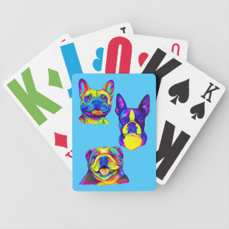 French and English Bulldogs and Boston Terrier Bicycle Playing Cards