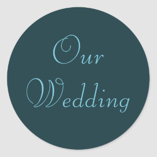 French Aqua Our Wedding Stickers