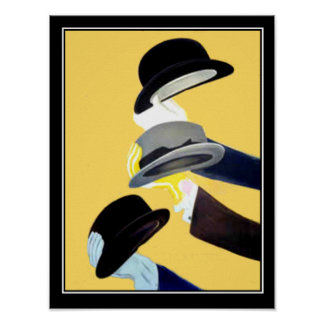 French Art Deco Vintage poster 3 Hats