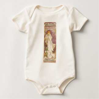 French Art Nouveau Camellias - Alphonse Mucha Baby Bodysuit