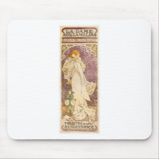 French Art Nouveau Camellias - Alphonse Mucha Mouse Pad
