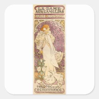 French Art Nouveau Camellias - Alphonse Mucha Square Sticker