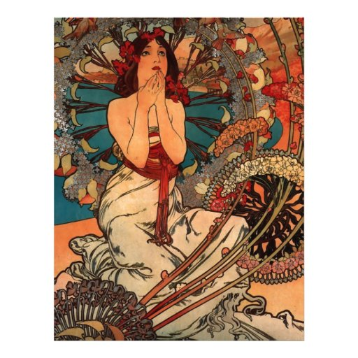 French Art Nouveau Travel Poster Customized Letterhead