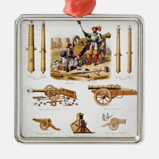French artillery Silver-Colored square ornament
