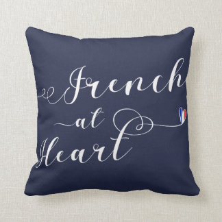 French At Heart Throw Cushion, France Throw Pillow