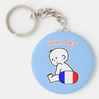 French Baby Basic Round Button Keychain