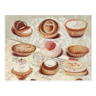 french bakery cupcake pastry desserts postcard