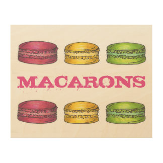 French Bakery Macaron Cookies Food Foodie Kitchen Wood Print