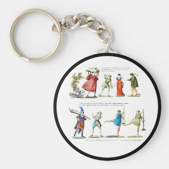French Ballet Scene Vintage Basic Round Button Keychain
