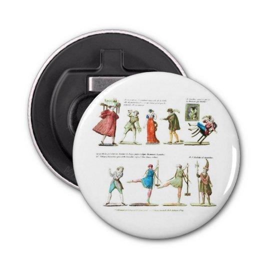 French Ballet Scene Vintage Button Bottle Opener