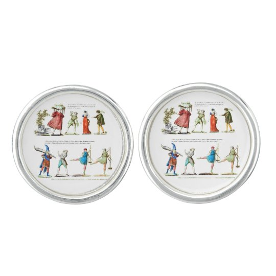 French Ballet Scene Vintage Cuff Links