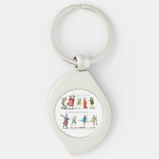 French Ballet Scene Vintage Silver-Colored Swirl Keychain