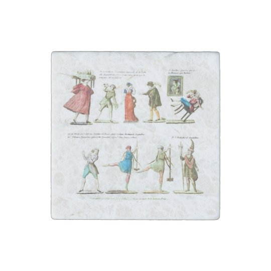 French Ballet Scene Vintage Stone Magnets