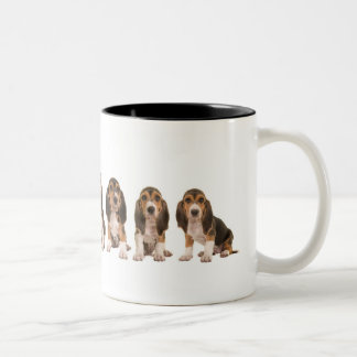 French basset puppies Two-Tone coffee mug