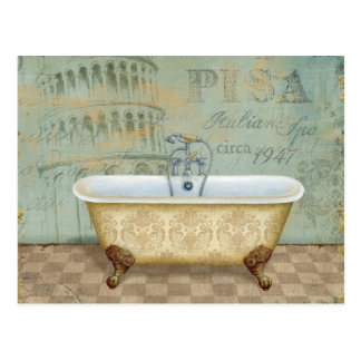 French Bathtub and the Leaning Tower of Pisa Postcard
