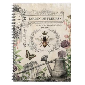 FRENCH BEE GARDEN SPIRAL NOTE BOOK