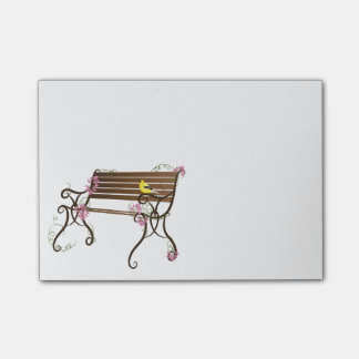 French Bench and Yellow Goldfinch Bird Post-it® Notes